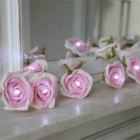 fairy string lights paper roses