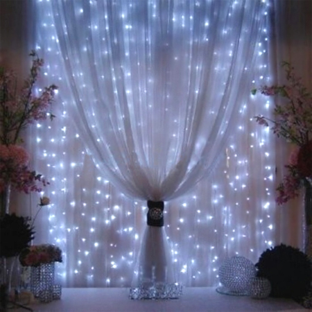 fairy string lights sheer curtains window