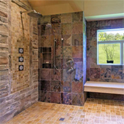 Dated bathroom becomes a modern wet room