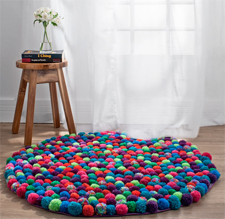 Here S A Fun Way To Inject Colour And Texture Into Room With Pom Rug Making Poms Is Quick Easy You Can Use Bought Or Leftover Wool