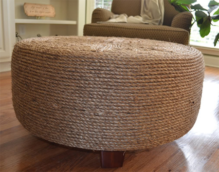 Make an ottoman from a tyre and rope