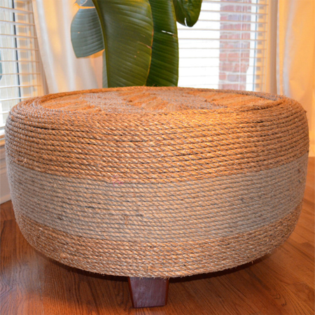 rope string tyre ottoman