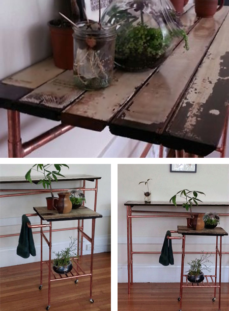 Copper Pipe Reclaimed Timber Kitchen Table And Trolley