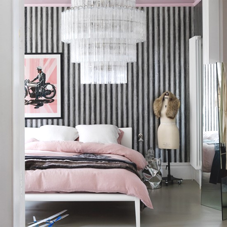 glamorous black white grey bedroom ideas | HOME DZINE Home Decor | Corrugated sheet metal for indoors