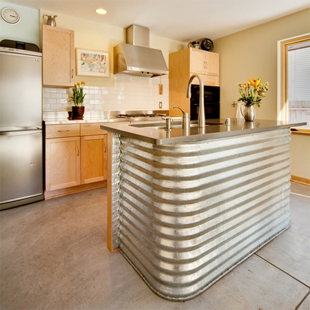 Corrugated sheet metal in kitchens