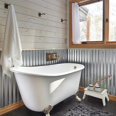 Corrugated sheet metal in bathrooms