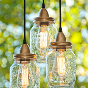 Mason jar or glass jar outdoor pendant lights