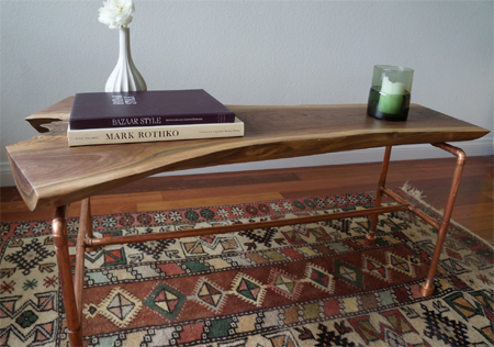 Copper Pipe Reclaimed Timber Contemporary Coffee Table