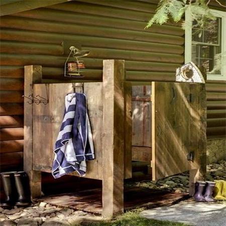 Home dzine garden install an outdoor shower for Building an outdoor bathroom