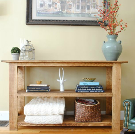 home dzine home diy make a rustic console table or shelf unit
