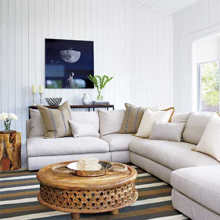 Bleached Ivory Paint Color Over Knotty Pine Paneling