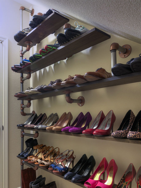 industrial galvanized pipe shoe rack ideas