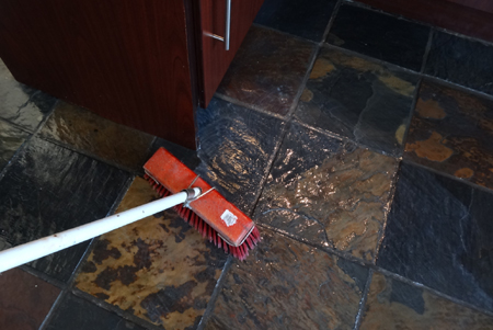 how to strip tiled floor to remove excess wax polish