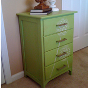 Painted chest of drawers with dandelion stencil