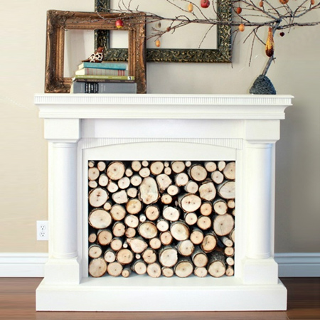 Home Dzine Home Decor Faux Log Panel For Real Or Faux Fireplace