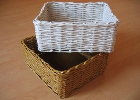Make rolled paper 'wicker' baskets
