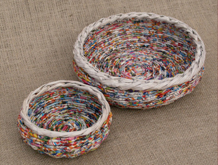Make rolled paper 'wicker' baskets round circular baskets