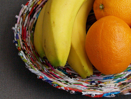 Make rolled paper 'wicker' baskets fruit basket