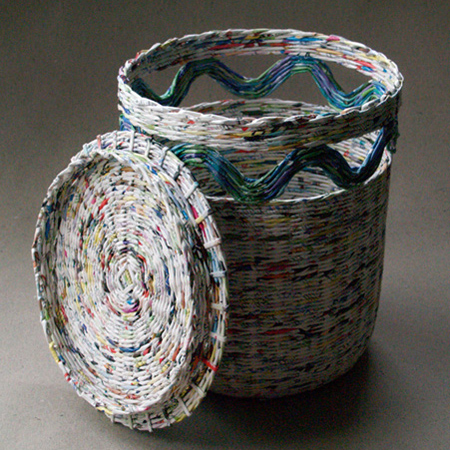 Make Rolled Newspaper Wicker Baskets