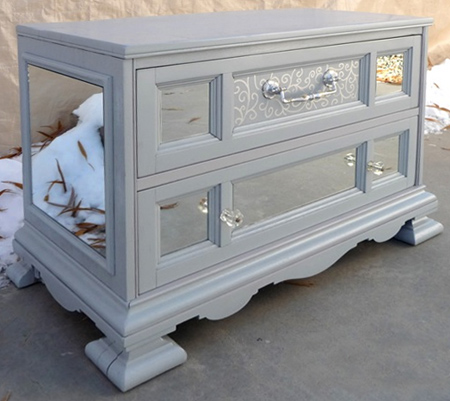 silver painted furniture. Rust Oleum 2x Gloss Winter Gray With Mirror Panels On Chest Of Drawers Silver Painted Furniture