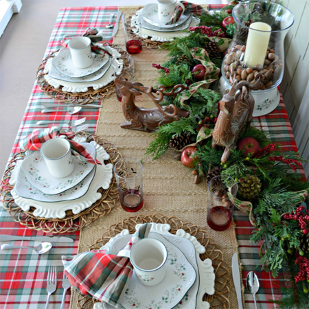 decorate the christmas dining table decor for christmas table plaid red white green - Green Christmas Table Decorations