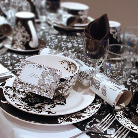 Black White And Silver Christmas Table Decorations