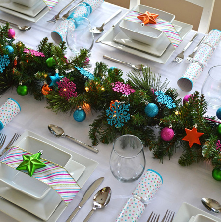 decorate the christmas dining table decor for christmas table modern elegance colourful baubles decorations