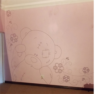Home dzine how to paint a tatty teddy mural for Best projector for mural painting