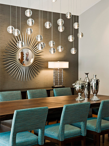 Home dzine home decor 70s home becomes a modern showpiece for Teal dining room ideas