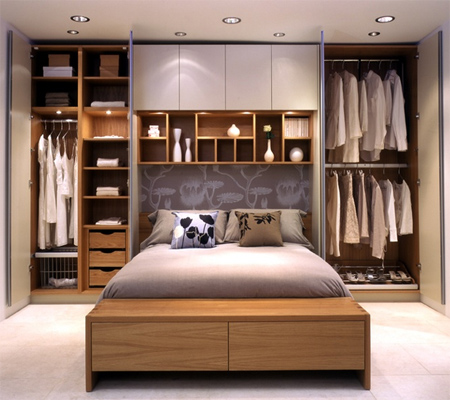 Home dzine bedrooms storage ideas for a small main or for Small double bedroom decorating ideas