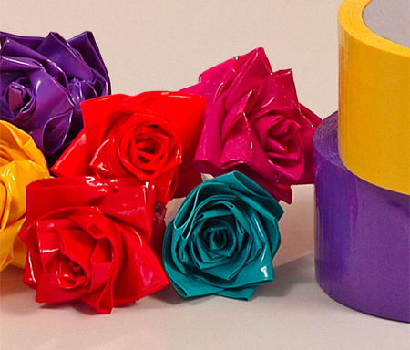 colourful duct tape roses