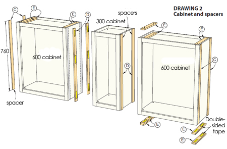 Home dzine home decor use stock cabinets to make a for Dining room hutch dimensions