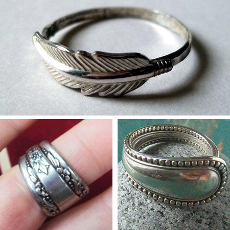 Make rings from sterling silver cutlery