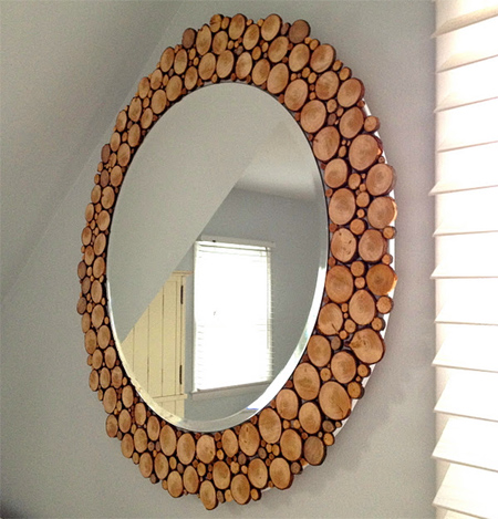 Mirror framed with cut branches