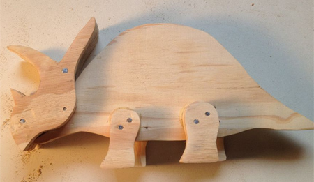 wooden moveable dinosaurs