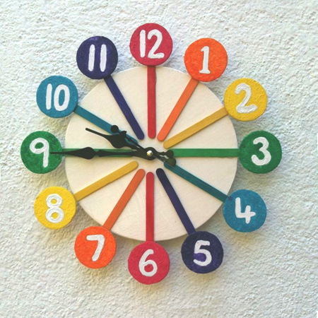 Make A Rainbow Clock With Recycled Materials