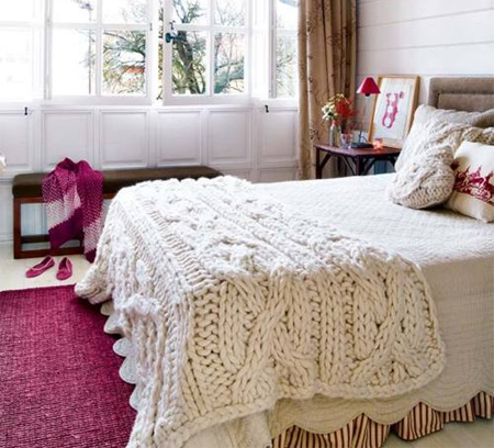 HOME DZINE Craft Ideas  Knit a giant blanket or throw Crochet Blanket Patterns With Large Hook