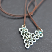 Make a pendant necklace using hex nuts