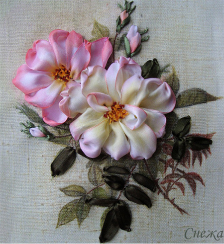 embroider with silk ribbon