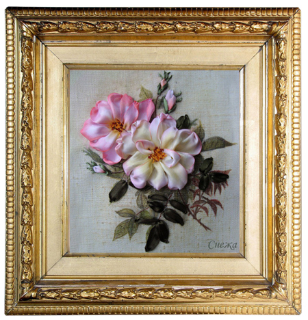 framed silk ribbon embroidery