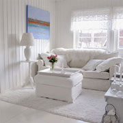 A home decorated in delicate whites