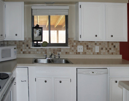 Home Dzine Kitchen Update Wood Kitchen Cabinets With Moulding And Trim
