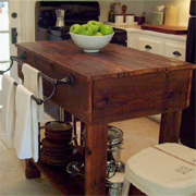 Reclaimed timber kitchen island