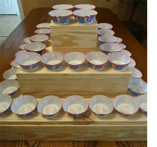 ... cupcake cake, you could use coloured wood stain or paint on a coat of