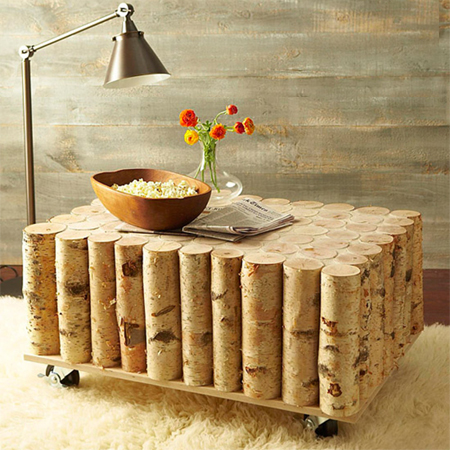 One-of-a-kind coffee tables from reclaimed timber with birch logs