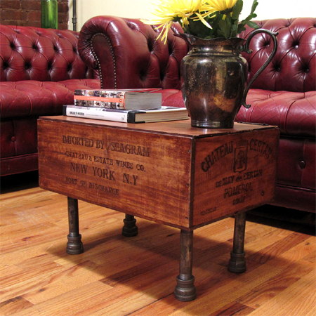One-of-a-kind coffee tables from reclaimed timber wine crate