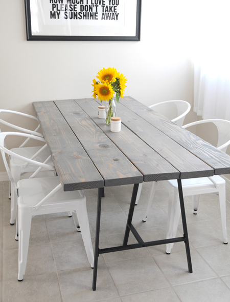 Easy DIY tables with trestle legs reclaimed planks