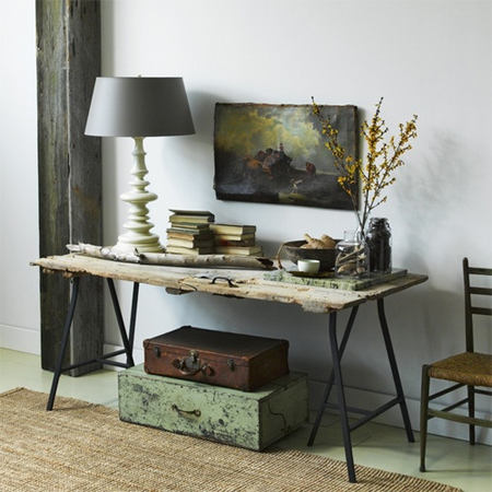 Easy DIY tables with trestle legs rustic console