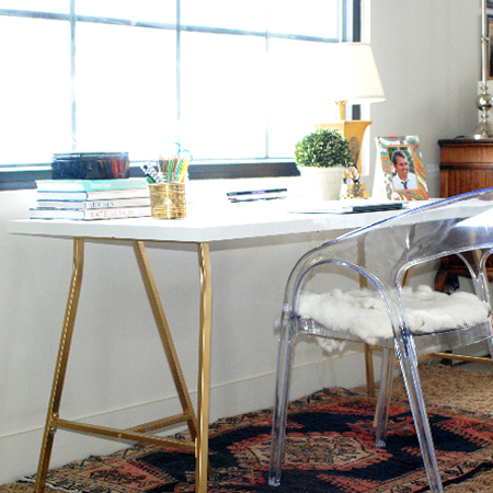 Easy DIY tables with trestle legs gold