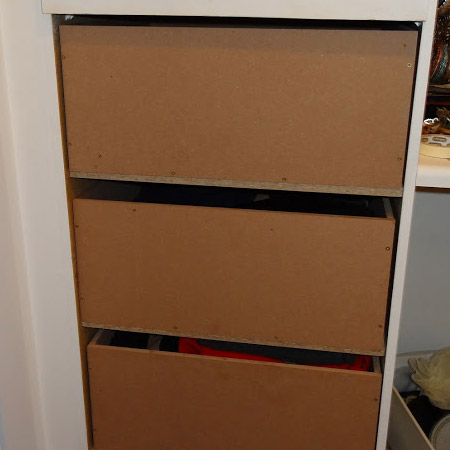Converting closet shelves to drawers